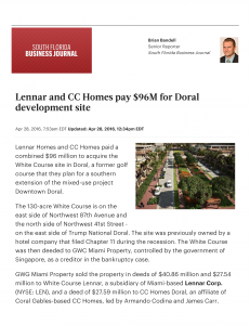 Lennar Corp and CC Homes pay $South Florida Business Journal 1